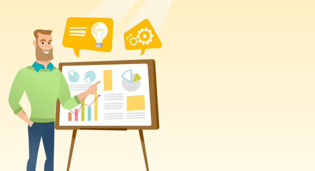 A cartoony illustration of a man pointing to a presentation of some graphs.