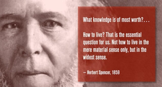 A picture of Herbert Spencer with his quote