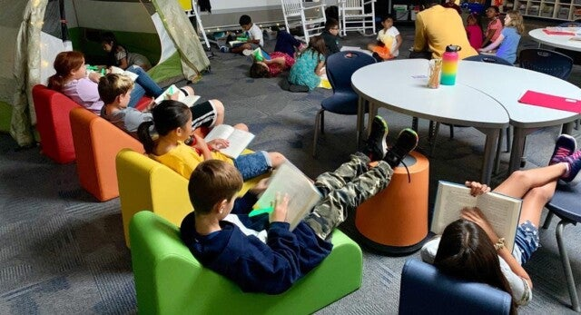 Kids reading in the library