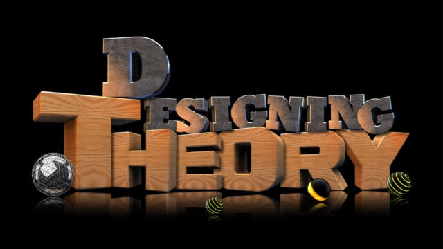 The words Designing Theory rendered in wood